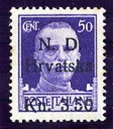 CROATIA (Dalmatia) 1944 Sibenik Local Issue 3.50 K On Italy 50 C. MNH / **.  Michel 5 - Croatia