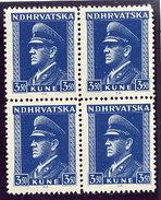 CROATIA 1943 Birthday Of Pavelic Block Of 4  MNH / **.  Michel 106 - Croatia