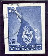 CROATIA 1943 Ustasa Youth Single Ex Imperforate Block  Used.  Michel 93B - Croatia