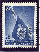 CROATIA 1943 Ustasa Youth Single Ex Perforated Block  Used.  Michel 93A - Croatia