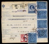 A4537) Slovenia Austria Yugoslavia Wertpaketkarte Von Sinj 4.7.19 MiF Mixed Franking - Slowenien