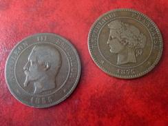 DUO Prix Interessant - 10 Cent 1875 A Très Rare Et 10 Cent 1855 BB (chien)   Moitié Prix - France
