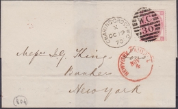 Great Bretain 1870 Cover Franked  3d  From Charing To New York - Postmark Collection