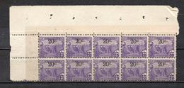 TUNISIE N° 69a BLOC DE 10 TIMBRES  SANS POINT APRES LE C  NEUFS SANS CHARNIERE COTE 25.00€    LABOUREURS - Tunisie (1888-1955)