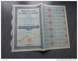 Union Des Chaux Et Ciments De France,   Lot De 6 Actions De 500 F ; Ref ACT C - Shareholdings