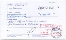 1999 RARO TIMBRO MILANO SPORTELLO AVANZATO AUCHAN RESCALDINA SU AVVISO RICEVIMENTO RACC. 17.11.00 (8059) - 6. 1946-.. Repubblica