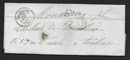 Tarn Et Garonne - Cachet Type 15  CAUSSADE + Taxe 25  Sur Lettre De 1852 - 1849-1876: Klassieke Periode