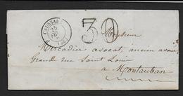Tarn Et Garonne - Cachet Type 15  CAUSSADE + Taxe 30  Sur Lettre De 1862 - 1849-1876: Klassieke Periode