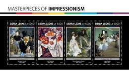 SIERRA LEONE 2017 - Manet, Cezanne, Renoir, Degas. Official Issue. - Impressionisme
