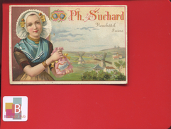 Chocolat Suchard Neuchâtel Suisse Jolie Chromo Jeune Femme Folklore Hollande Hollandaise Moulin - Suchard