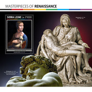 SIERRA LEONE 2017 - Renaissance: L. Da Vinci, Michelangelo S/S. Official Issue. - Art