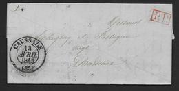 Tarn Et Garonne - Cachet Type 13  CAUSSADE  +  P.P.    Sur Lettre De 1845 - Marcofilie (Brieven)