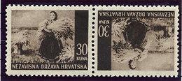 CROATIA 1941 Landscape Definitive 30 K. Tete-beche Pair MNH / **..  Michel 63K - Croatia