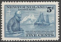 Newfoundland. 1940 50th Anniv Of Sir Wilfred Grenfell´s Labrador Mission. 5c MH. SG 275 - Newfoundland