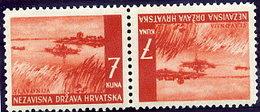CROATIA 1941 Landscape Definitive 7 K. Tete-beche Pair MNH / **..  Michel 58K - Croatia