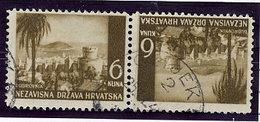 CROATIA 1941 Landscape Definitive 6 K. Tete-beche Pair Used.  Michel 57K - Croatia