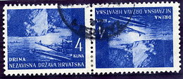 CROATIA 1941 Landscape Definitive 4 K. Tete-beche Pair Used.  Michel 54K - Croatia