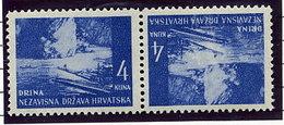 CROATIA 1941 Landscape Definitive 4 K. Tete-beche Pair MNH / **.  Michel 54K - Croatia