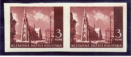 CROATIA 1941 Landscape Definitive 3 K. Imperforate Pair MNH / **.   Michel 53U - Croatia