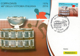 CARTOLINA FILATELICA  COPPA  DAVIS  40° DELLA  VITTORIA  ITALIANA      BARRE  8398 - Cartas Máxima