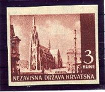 CROATIA 1941 Landscape Definitive 3 K. Imperforate  MNH / **.   Michel 53U - Croatia