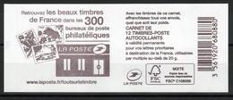 """CARNET 1214-C .. / 12 MARIANNE CIAPPA TVP R SANS G / VERSO """" LES BUREAUX DE POSTE PHILATELIQUES """" NEUF - Usage Courant"""