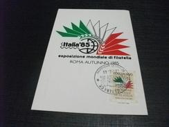 STORIA POSTALE MAXIMUM FRANCOBOLLO ESPOSIZIONE MONDIALE DI FILATELIA 1985 ITALIA ROMA AUTUNNO 85 - Mostre, Esposizioni