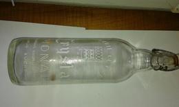 Bouteille 1l En Verre De Limonade Serigraphiée CRYSTAL Limonaderie De La Rance Avec Blason DINAN - Soda