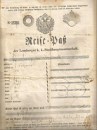 Austria-Hungary Österreich Ukraine 1849 Lemberg 2 Sheet Brzezan-Tarnopol Passport Zahlreichen VisasGrenzmarken Reisepass - Historical Documents