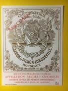 3455 -   Château Longueville Au Baron De Pichon-Longueville Pauillac Spécimen - Bordeaux