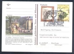 Austria 1995 Postal Stationery: Fauna Western Green Lizard (Lacerta Bilineata) Hirsch Deer Girefe Giraffe Scönbrunn Wien - Reptilien & Amphibien