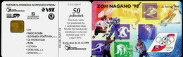 018-SLOVAKIA Telephone Card-chip The Olympic Winter Games Nagano ´98 100.000 Pcs 50 Units (A77) 1997 - Giochi Olimpici
