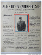 AFFICHE ALLOCUTION RADIO MARECHAL PETAIN OCTOBRE 1940 CHEF ETAT FRANCAIS PROPAGANDE - 1939-45