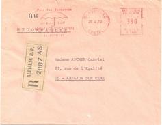 3820 AURILLAC Cantal Lettre Recommandée Avec AR EMA 3,80 F Ob 20 4 1970 Flamme MUTUELLE PARAPLUIE - Environment & Climate Protection