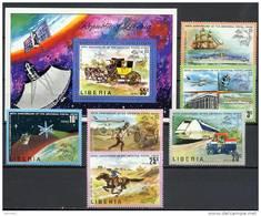 Liberia 1974 UPU Centenary, Space, Trains, Ships Set Of 6 + S/s MNH - Space