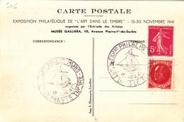 Carte FOIRE De PARIS Avec N°Yvert 506 Obl Sp Ill Philatélie 1941 - Documentos Del Correo