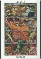 1996-Libya- Reptiles-Snakes Turtle Lizard Copra Rock Tree Home- Minisheet  MNH** - Libia