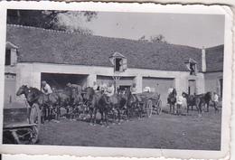Foto Deutsche Soldaten Mit Pferden Und Gespann - 2. WK - 8*5cm (27686) - Krieg, Militär