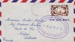 OCEANIE - Enveloppe 1er Vol Papeete Noumea Par La TRAPAS Avec Cachet Marine Nationale Océanie Au Verso - Océanie (Établissement De L') (1892-1958)