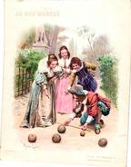 1 Card BOWLING C1906  Pub Au Bon MARCHE   Le Jeu De Boules  Illustr Maurice Leloir Costumes Louis XIII Lith Barret Paris - Bowling