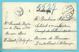 Kriegsgefangenensendung / Fotokaart (verzonden Van BOUSSU) Met Stempel BRUSSEL Naar SOLTAU