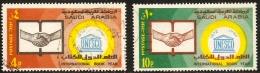 Saudi Arabia 1974 International Year Of The Book 2 Values Cancelled UNESCO Shaking Hands - Saudi Arabia