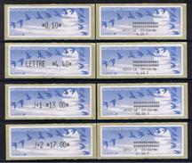 8 ATMs, LISA1, ENCRE NOIRE, 0.10/ LETTRE 4.40/ J+1 13.00/ J+2 17.00 Avec Reçus 9/03/96. PAPIER JUBERT BLEU FONCE. - 1990 Type «Oiseaux De Jubert»