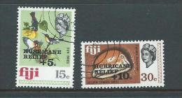 Fiji 1972 Hurricane Relief Overprint Charity Set 2 FU - Fiji (1970-...)