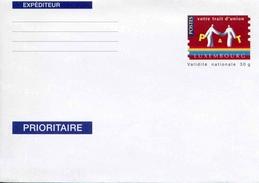"""Entier Postal Sur Env. Format 114 X 162 Mm Avec Timbre """"Votre Trait D´union P & T (rouge)"""" - Au Verso N° 1200001000 - Stamped Stationery"""