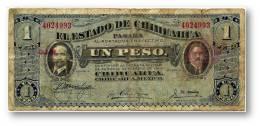 MEXICO Revolutionary - 1 PESO - D. 1914 - Pick S 529.g- Serie A - El Estado De Chihuahua - Mexico