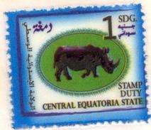 SOUTH SUDAN Südsudan 1 SDG Revenue / Fiscal Stamp Central Equatoria State RHINO Timbres Fiscaux Soudan Du Sud RARE! - Südsudan