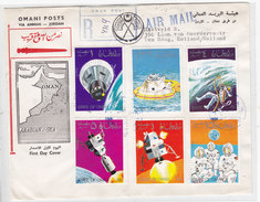 Oman 1968 Space Research Complete Set 8 Stamps, 6 On Front + 2 On Verso-on FDC-scarce Space Cover-Pay.Skrill Only - Oman
