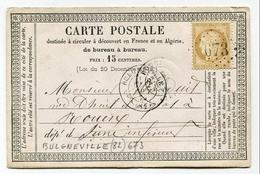 !!! CARTE PRECURSEUR CERES CACHET DE BULGNEVILLE ( VOSGES ) - Precursor Cards