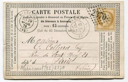 !!! CARTE PRECURSEUR CERES CACHET DE MIRECOURT ( VOSGES ) 1875 - Precursor Cards